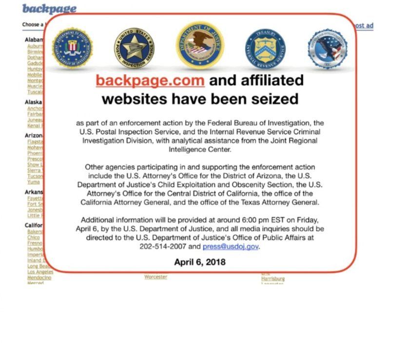 Backpage seized by Feds on Friday